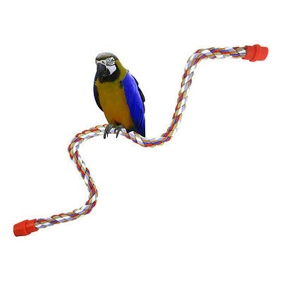 Bird Parrot Rope Cockatiel Parakeet Conure Cage Standing Perch Chew Peck Toy FT