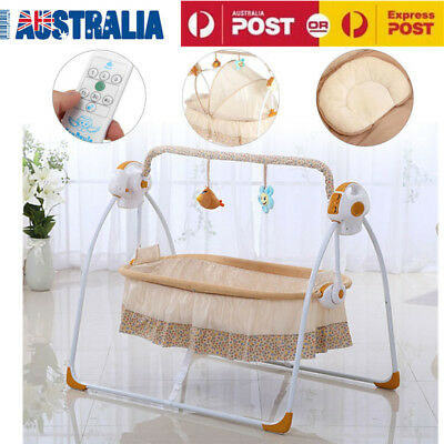 Electric Big Space Baby Crib Cradle Infant Rocker Auto Swing Bed Baby With Mat