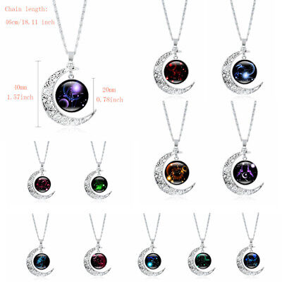 Silver Moon Astrology Zodiac Necklace Star Sign Horoscope Constellation Pendant