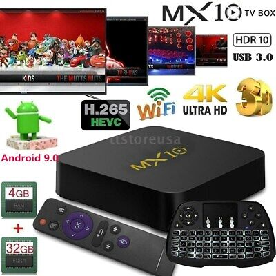 MX10 Android 9.0 4K H.265 Media TV Box RK3328 Quad Core 4GB+32GB w/Tastiera Y0O7