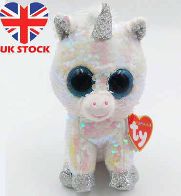 "7"" Ty Beanie Boos Toy Flippables Doll Toy Diamond Color Changing Sequin Plush"