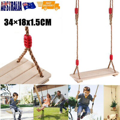 Wooden Swings Seat Child Adult Garden Outdoor Yard Tree Swing Play Birthday Gift
