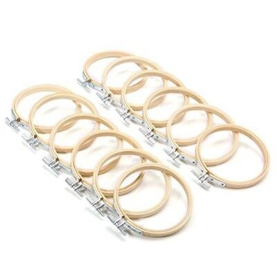 12Pcs Embroidery Circle Set Hoops Cross Hoop Ring Wooden Round Bamboo Hoops #AM8