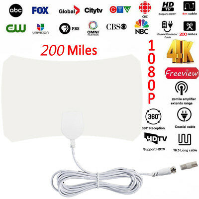 Thin Freeview Indoor Amplified Digital TV Aerial HDTV Antenna 200 Mile Range