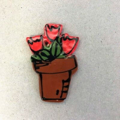 CERAMIC TULIPS IN POT - Red ~ Mosaic Inserts, Art, Craft Supplies