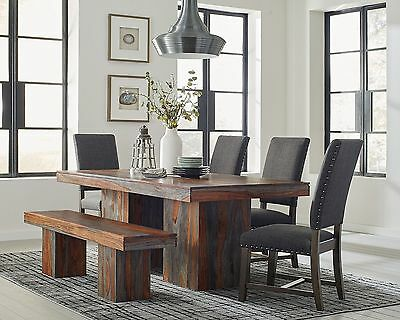 Rustic 7 Pc Solid Wood Dining Table Chairs And Bench Room Furniture Set