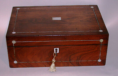 Antique Rosewood Sewing Box With Key For Restoration