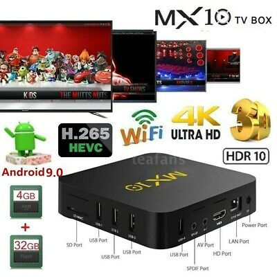 MX10 Android 9.0 TV BOX RK3328 Quad Core 4G+32G/64G 4K WiFi Media HD-MI USB V2T2