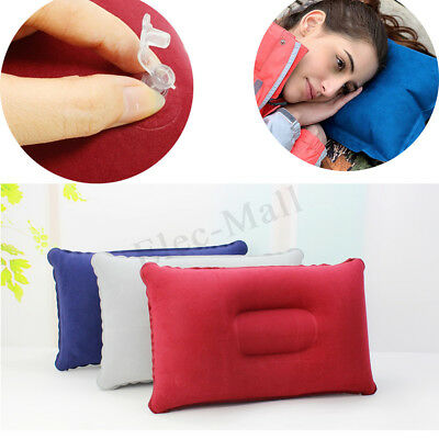 Portable Inflatable Air Pillow Soft Blow Up Fabric Cushion Travel Camping Rest