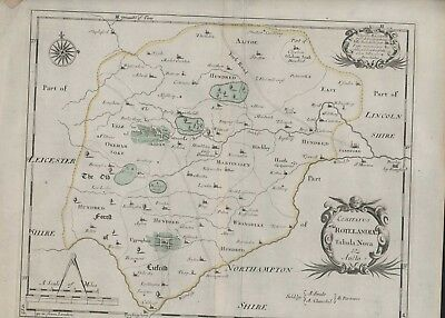 1753 Map Rutlandshire. Robert Morden. Copper-Plate Eng Hand Coloured PO.111