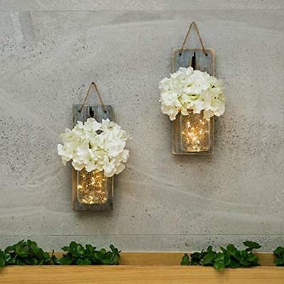 HABOM Mason Ornaments Jar Sconce Wall Art Home Decor - Lighted Rustic Country ""