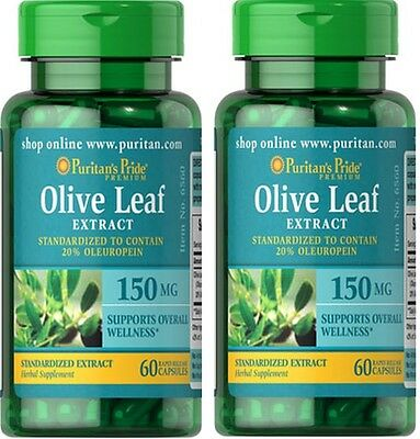 2X Olive Leaf Standardized Extract 150 mg x 60 ( 120 ) Capsules - 24HR DISPATCH