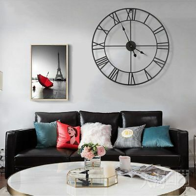 Large 60cm Metal Garden Wheel Outdoor Black Roman Numeral Battery Wall Clock