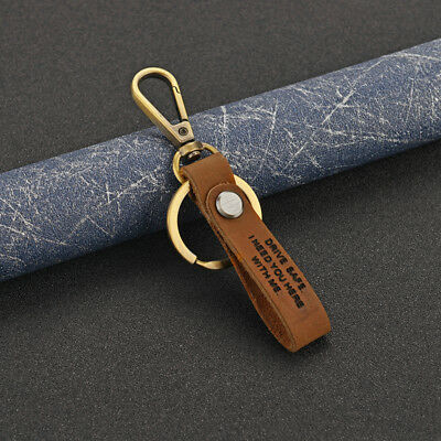 Drive Safe Leather Keychain I Need You here with me Keyring Couples Dad Mom Gift