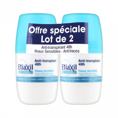 Déodorant Anti-Transpirant 48h Roll-On Anti-Traces Blanches ETIAXIL (lot 2)/EBUH