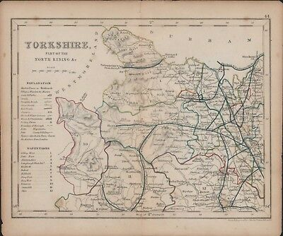Yorkshire North Riding. Antique Map by J. Archer. Original hand-coloured E4.385