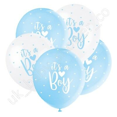 5 IT'S A BOY BALLOONS White Blue Baby Shower Party Decoration,Latex,Helium 56115