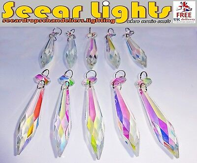 Chandelier Light Parts Glass Crystals 10 Ab Pointy Icicles Drops Prism Droplets