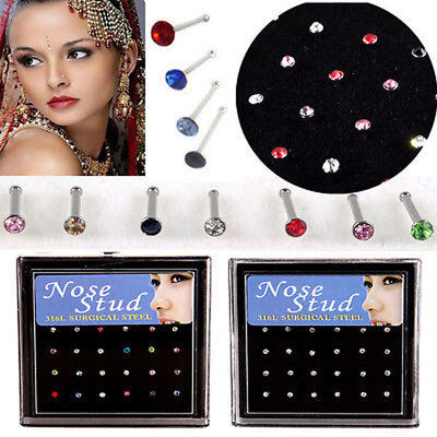 Surgical Steel Small Crystal Nose Stud Tragus Stud Pin Ball End Body Jewelleryuk