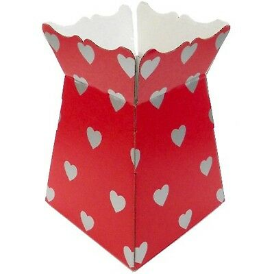 Hearts Large Red / Silver - Living Vases Florist Bouquet Box Flower Sweet Boxes