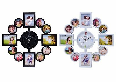 12 Multi Aperture Photo Picture Wall Clock Gift Frame Time Collage Modern