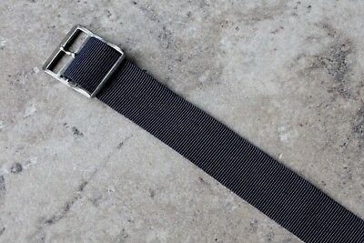 Blue ribbed nylon 17.3mm vintage watch band 1-piece type NOS 1960s silver buckle