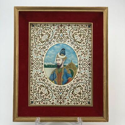 Framed Portrait Mughal Humayun 24k Gold Embellished Gouache Print on Paper