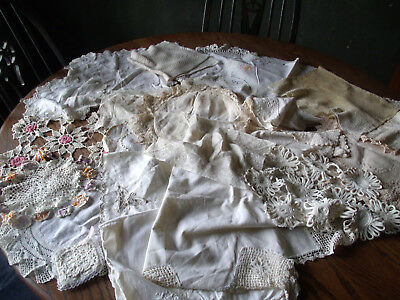 Vintage Lot of Doilies, Runners, Towels, Crochet, Embroidery, Lace-Lot of 25