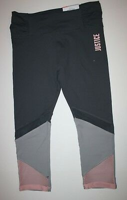 New Justice Leggings Girls 14 16 Plus yr Stretch Soft Pants Active Crop Gray