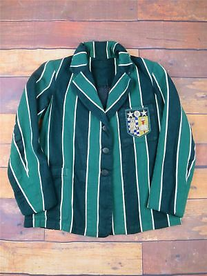 "1940s Vintage Boating College Green Blazer Owl,Book & Star Badge 34"" Chest"
