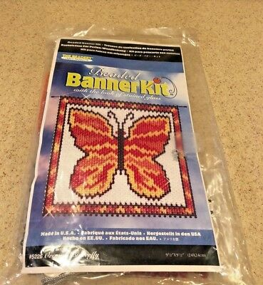 "The Beanery Beaded Banner Kit  ""Orange Butterfly"" 9 1/2"" x 9 1/2"""