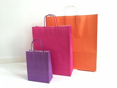 Purple Kraft Paper Carrier Bag with Twisted Handles 18x22x8cm (Pack 10)