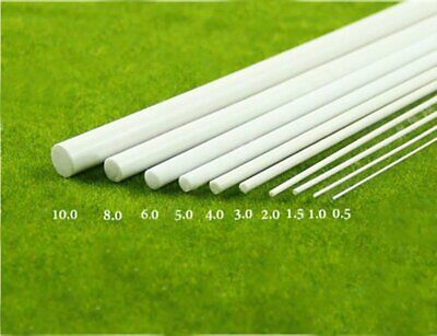 5x White ABS Plastic Rod Round Solid Bar DIY Model Material 250mmx 1~6mm UK