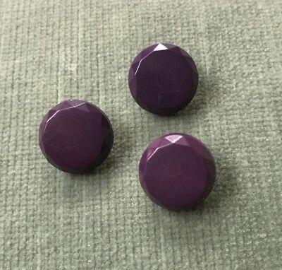 Set of 3 Matched Vintage Purple Early Plastic Jewel Cut Buttons 1.3 cm