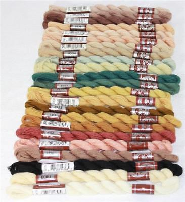 DMC Broder Medicis Fine Embroidery 100% Wool Floss 24 Assorted Colors Discont'd