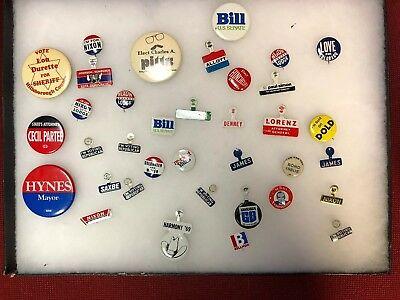 35 OFFICIAL NIXON jOHNSON GOLDWATER V INTAGE POLITICAL CAMPAIGN BUTTON PIN LOT