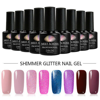 7ml Shimmer Glitter UV Gel Nail Polish Varnish Lacquer Manicure Set Meet Across