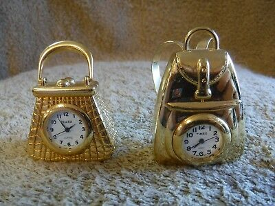 Lot of 2 Brass Miniature Purse / Backpack with Timex Clocks.