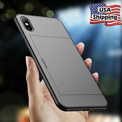 Hybrid Shockproof Card Slot Wallet Hard Case For iPhone XS Max XR X 6s 7 Plus SE