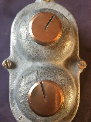 Vintage old Industrial Crabtree 2 Gang Cast Iron Light Switch Galvanised