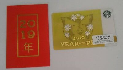Starbucks Chinese Year of the Pig Lunar Gift Card plus Sleeve, Collectible, Mint