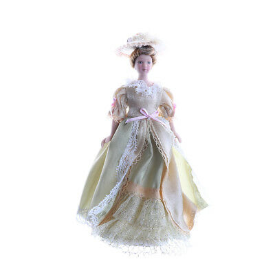 1/12 Dollhouse Miniature Porcelain Dolls Dollhouse Victorian Lady Figurine tafr
