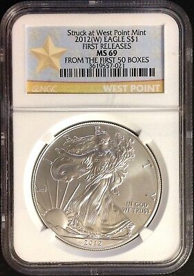"2012(W) $1 (1oz) American Silver Eagle - NGC MS69 First Releases ""1st 50 Boxes"""