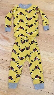 Hanna Andersson 80 Long Johns 18-24 mos Boys Pajamas Two-Piece Motorcycles