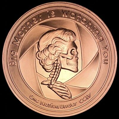 2017 1 oz Democide Copper Shield Round - Big Mother Is Watching U - MiniMintage