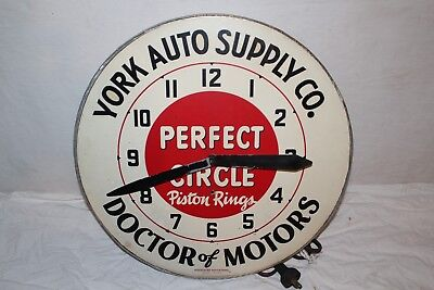 """Vintage 1950's Perfect Circle Piston Rings Gas Oil 16"""" Metal Clock Sign"""