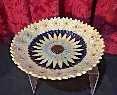 Vintage Antique Victorian Majolica Sunflower Plate Compote Bowl Serving Dish