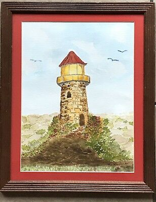 Original Watercolor Painting Lighthouse Signed R Hendricks 93 Matted Framed