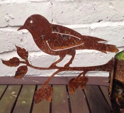 Rusty Metal Large Bird on a Branch Fence Post Topper / Ornament