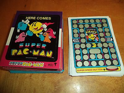 Large Lot of 48 Different Super Pac-Man Fleer Stickers & 10 Rub Offs 1982
